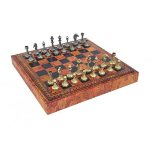 METAL CHESS & ECO-LEATHER CHESSBOARD